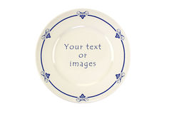 Decorated round Delft blue plate Stock Photo