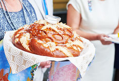 Decorated round loaf wedding bread Stock Photo