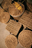 Decorated scene with wicker baskets Stock Photos