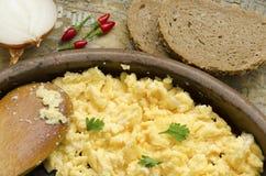 Decorated scrambled eggs Stock Photos
