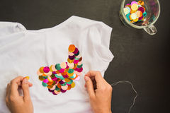 Decorated with sequins tshirt for gift stock photo