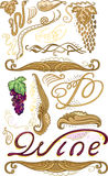 Decorated set for wine label Stock Image