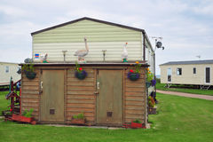 Decorated shed in caravan camp or trailer park Royalty Free Stock Photography
