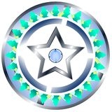 Decorated shield with star isolated Royalty Free Stock Photography
