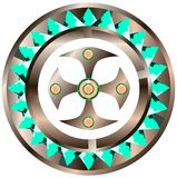 Decorated shield with cross isolated Royalty Free Stock Images