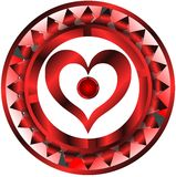 Decorated shield with heart isolated Royalty Free Stock Photography