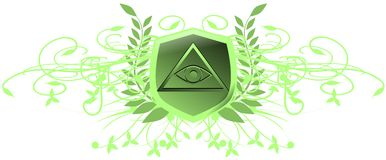 Decorated shield with All-Seeing Eye isolated. Illustration representing a version of one of the most esoteric symbol: the All-Seeing Eye Stock Image