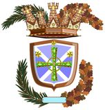 Decorated shield with crown and cross isolated. Image representing an isolated decorated shield with a medieval style and floral decorations Royalty Free Stock Images