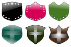 Decorated shields Stock Photo
