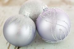 Decorated silver Christmas baubles Royalty Free Stock Photos