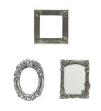 Decorated Silver  Picture Frame set in isolated ba Royalty Free Stock Photos