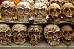 Decorated skulls at market, day of dead, Mexico. Decorated skulls, ceramics death symbol at market, day of dead, Mexico Stock Photos