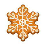 Decorated snowflake. Gingerbread cookie. Royalty Free Stock Image