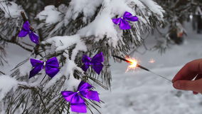 Decorated snowy forest tree with lilac ribbons and Bengal fire in a female hand. Decorations on the Christmas. Winter on the tree in the snow hang the Christmas stock footage