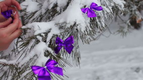 Decorated snowy forest with tree lilac ribbons. Decorated snowy forest tree with lilac ribbons, Christmas toys,Female hand decorates the Christmas tree stock video footage