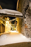 Decorated snowy street in Tallinn, Estonia Stock Images