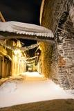 Decorated snowy street in Tallinn, Estonia Stock Images