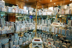 Decorated souvenir boxes in Cairo, Egypt souk market. Royalty Free Stock Image