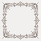 Decorated square decorative frame in mono line style with r Stock Photography