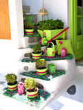 Decorated stairs in mykonos Stock Photos