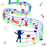 Decorated stave with playing children Royalty Free Stock Photos