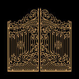 Decorated steel gates vector illustration. Golden on black background Stock Photos