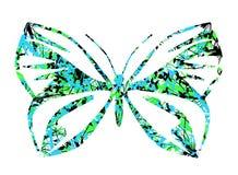 Decorated stiliserade fjärilen med isolerad färgrik blom- garnering royaltyfri illustrationer