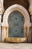 Decorated stone fountain of Hassan II mosque in Casablanca Stock Photo