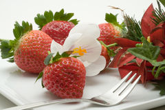 Decorated strawberry dessert Stock Photos