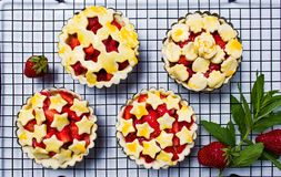 Strawberry sweet pie before baking stock photo