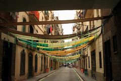 Decorated street in Barcelona Royalty Free Stock Photo