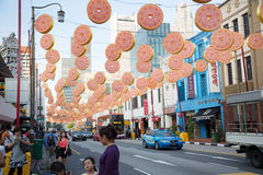 Decorated street on the eve of Chinese New Year in Chinatown Royalty Free Stock Photos