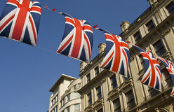 Decorated street with flags. Street in London decorated with flags. May, 2012 Royalty Free Stock Photo