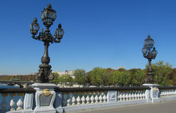 Decorated street light on the bridge in Europe, Paris, France Royalty Free Stock Images