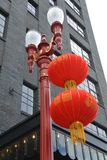 Decorated Street Light in Portland, Oregon. This is one of the antique double street lights in Portland, Oregon`s China Town District decorated for the Lunar New Royalty Free Stock Images