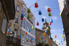 Decorated street in Santiago de Compostela. Galicia. Spain Stock Images