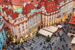 Decorated street at Staromestske namesti in Prague. Royalty Free Stock Photo