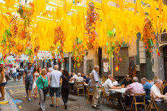 Decorated streets of Gracia district.  Autumn theme Stock Images