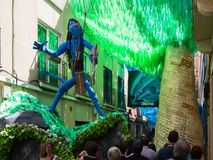 Decorated streets of Gracia district. Avatar film theme Stock Photography