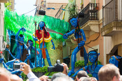 Decorated streets of Gracia district. Avatar film theme Stock Photo