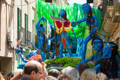 Decorated streets of Gracia district. Avatar film theme. BARCELONA, SPAIN - AUGUST 16, 2015: Gracia Festival Decorations in Barcelona, Spain. Each street is royalty free stock photos
