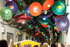 Decorated streets of Gracia district. Barcelona Stock Photography