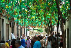 Decorated streets of Gracia district.  Corn theme Royalty Free Stock Photos
