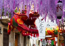 Decorated streets of Gracia district. Japanese  theme Royalty Free Stock Photography
