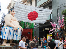Decorated streets of Gracia district.  Japanese theme Stock Images