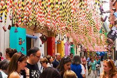 Decorated streets of Gracia district. Theme of  construction Stock Images