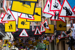 Decorated streets of Gracia district.  Theme of  signs and symbo Stock Images