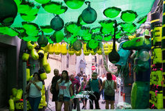 Decorated streets of Gracia district. Theme of toxic waste Royalty Free Stock Photo