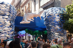 Decorated streets of Gracia district. Underwater theme Stock Photo