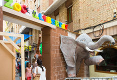 Decorated streets of Gracia district. Zoo theme Stock Image